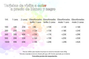 Tarjetas de visita baratas en Fotocopias ADOS Valencia