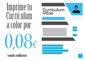 Imprime tu currículum con la foto en color por sólo 0,08€ c.u. Fotocopias ADOS Valencia