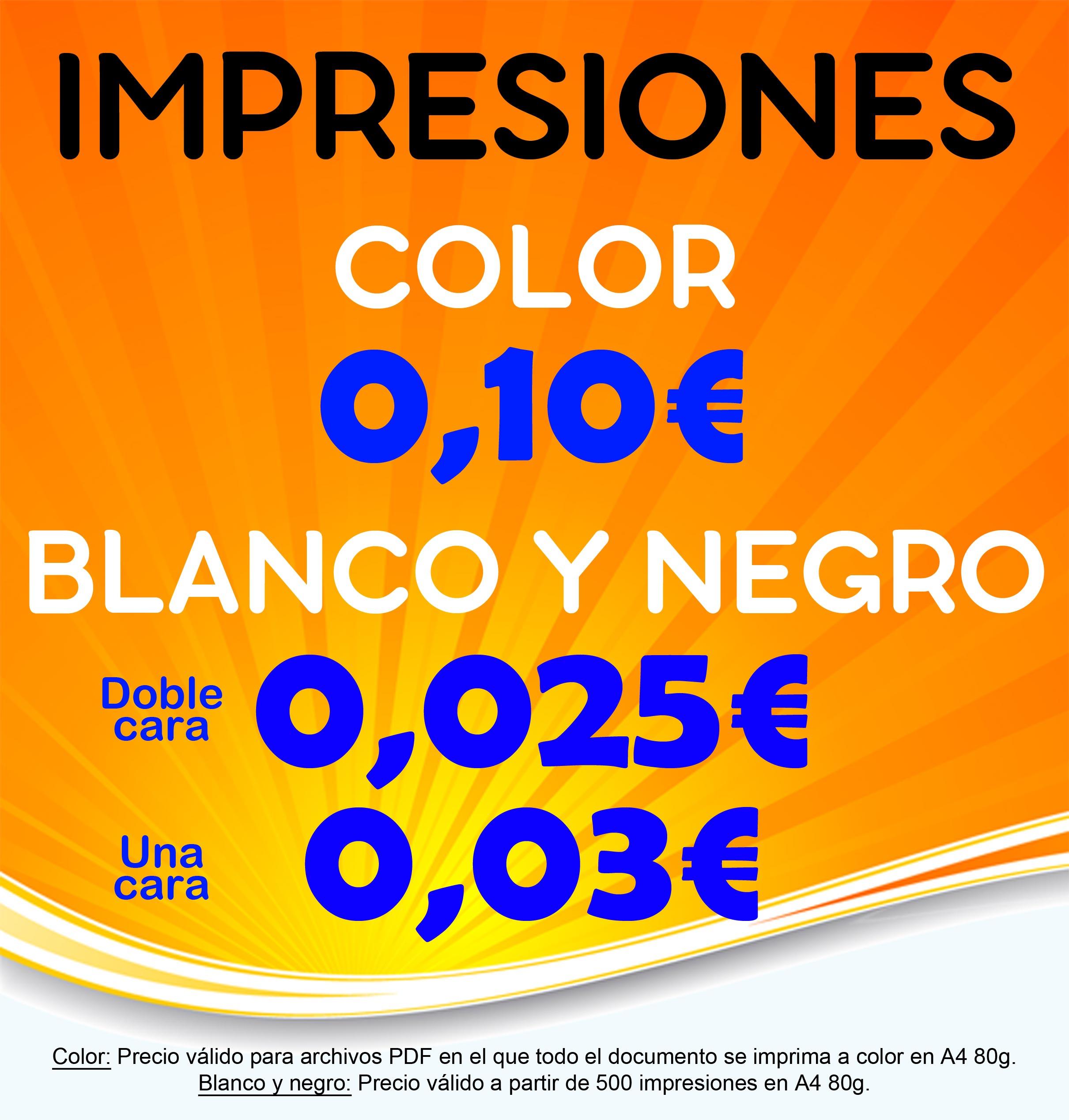 Ofertas impresiones Color y Blanco y Negro Fotocopias ADOS